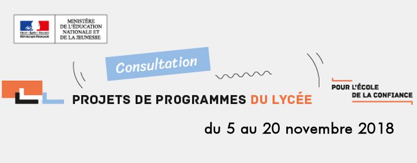 Consultation sur les projets de programmes du lycée 2018-2019