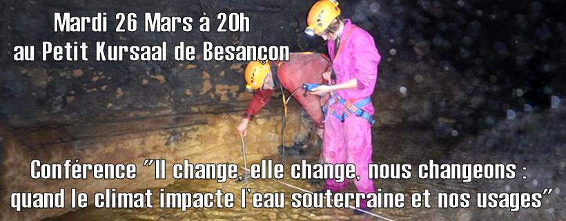 Conférence «Il change, elle change, nous changeons : quand le climat impacte l'eau souterraine et nos usages»