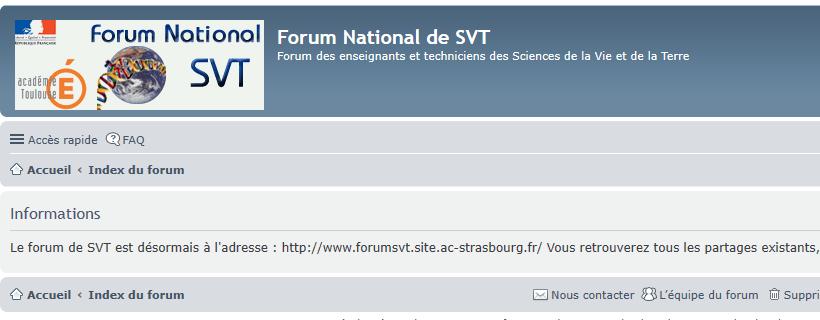 Le forum SVT change d'adresse