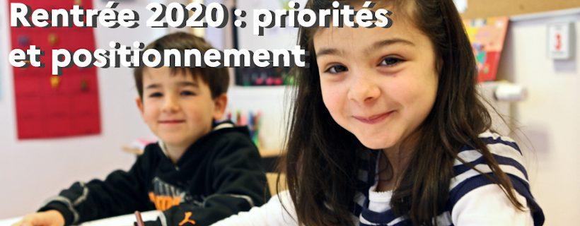 Rentrée 2020 : priorités pédagogiques et outils de positionnement pour la période septembre-octobre